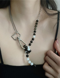 Fashion Black Black And White Beaded Metal Chain Necklace