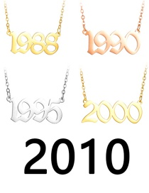 Fashion 2010 Rose Gold Number Year Stainless Steel Necklace