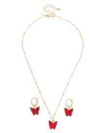 Fashion Red Resin Butterfly Necklace And Earring Set
