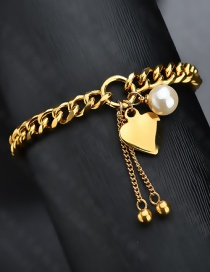 Fashion Gold Color Stainless Steel Pearl Love Bracelet