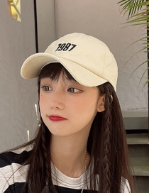 Fashion Beige Dome Long Brim Baseball Cap