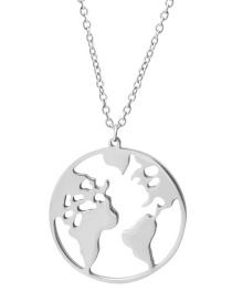 Fashion Steel Color Geometric World Map Necklace