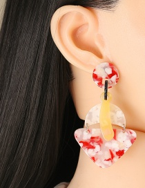 Fashion Red Acetate Sheet Geometric Earrings