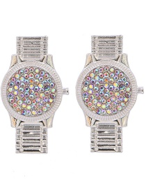 Fashion Silver Color+color Watch Diamond Earrings