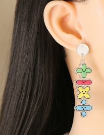 Fashion Add Subtract Multiply And Divide Alphabet Plus And Minus Symbols Acrylic Earrings