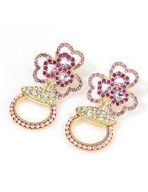 Fashion Pink Alloy Diamond Acrylic Flower Earrings