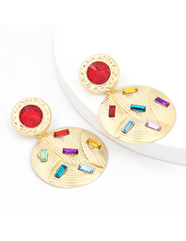 Fashion Round Shape Alloy Diamond Acrylic Multilayer Round Earrings