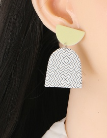 Fashion Grass Green Printed Irregular Geometric Stud Earrings