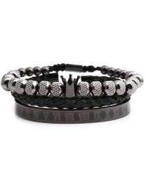 Fashion Grab The Black Stainless Steel Letter Crown Braided Bracelet Set