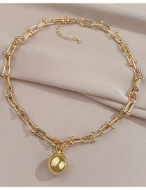 Fashion Gold Color Chain Metal Ball Necklace
