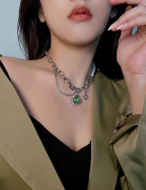 Fashion Green Chain Star Necklace