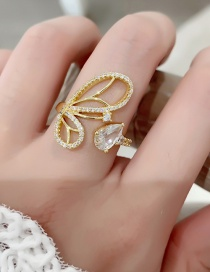 Fashion Gold Color Butterfly Wings Drop Ring