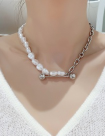 Fashion Silver Color Pearl Stitching Necklace