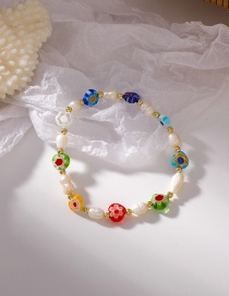 Fashion Color Colorful Glass Freshwater Pearl Daisy Bracelet