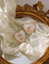 Fashion White Love Rose Earrings