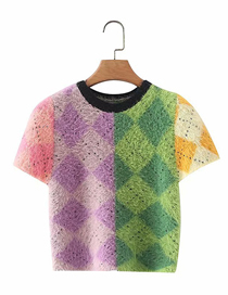 Fashion Color Contrast Plaid Jacquard Short-sleeved Sweater