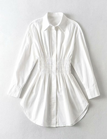 Fashion White Single-breasted Dress With Waist Lapel