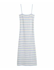 Fashion Blue Plaid Striped Knitted Suspender Dress