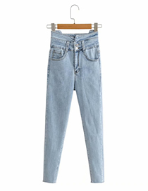 Fashion Blue High-waisted Rope Back Jeans With Raw Edges