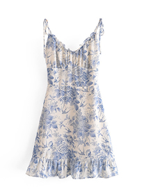 Fashion Blue V-neck Dress With Floral Print And Wood Ears