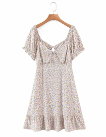 Fashion Flowers Front And Back V-neck Flower Cut-out Dress