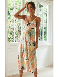 Fashion Color Printed Open Back Jumpsuit With Inner Lining