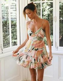 Fashion Color Printed Chiffon Strap Dress