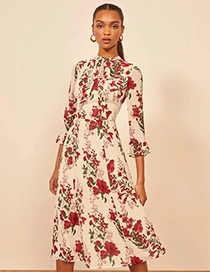 Fashion Red Floral Mid-sleeve Tether Dress