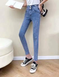 Fashion Blue Slim-fit Jeans With Small Feet