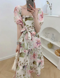 Fashion Color Square Neck Puff Sleeve Printed Dress