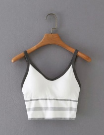 Fashion White Color Striped Beauty Back Sling Top