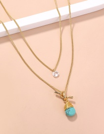Fashion Blue Knotted Winding Turquoise Multilayer Necklace