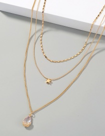 Fashion Gold Color Water Drop Zircon Multilayer Five-pointed Star Necklace