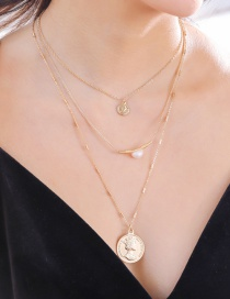 Fashion 18k Gold Multi-layer Elizabethan Coin Elbow Pearl Necklace