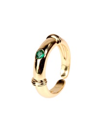 Fashion Round Shape Copper Gold-plated Micro-inlaid Zircon Pozi-shaped Meteor Opening Ring