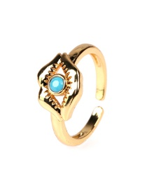 Fashion Blue Zircon Ring With Lip Opening