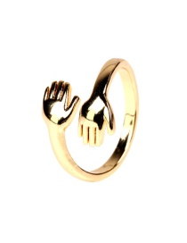 Fashion Gold Color Copper Plated K Gold Two-hand Open Ring
