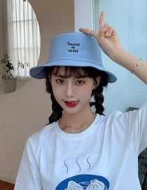 Fashion Light Blue Smiley Face Sunscreen Fisherman Hat