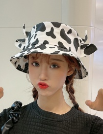 Fashion Black And White Cow Sun Shade Fisherman Hat