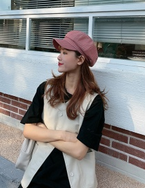 Fashion Brick Red Vertical Stripes Octagonal Hat