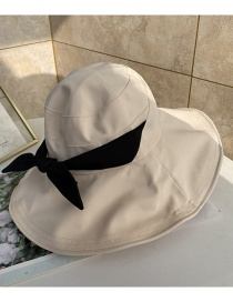 Fashion Beige Thin Fisherman Hat With Big Rim Sunshade Bowknot