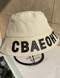 Fashion Beige Embroidered Letter Fisherman Hat
