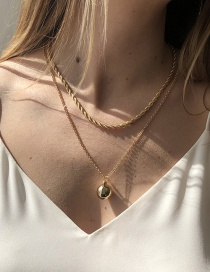 Fashion Gold Color Metal Double Geometric Ball Necklace