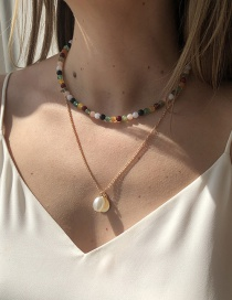 Fashion Gold Color Imitation Pearl Disc Contrasting Color Necklace