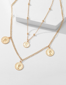 Fashion Gold Color Multi-layer Relief Portrait Necklace