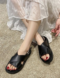 Fashion Black Cross Open Toe Platform Flat Sandals