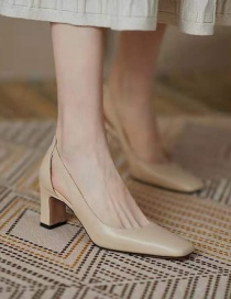Fashion Nude Block Heel Shallow Mouth Square Toe Shoes