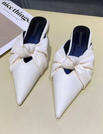 Fashion Creamy-white Pointed Bow Bow Toe Shoes