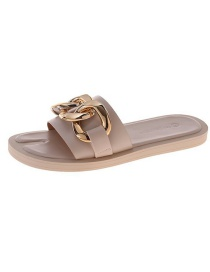 Fashion Beige Split Toe Metal Chain Sandals And Slippers