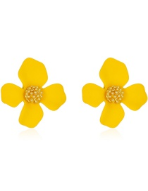 Fashion 2 Four Petals Yellow Flower Pearl Earrings